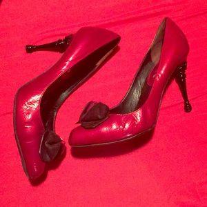 Celine Red Rosette Shoe with Banister Heel